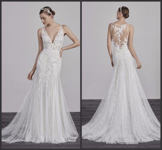 Sleeveless Lace Bridal Gowns Tulle Mermaid Boho Beach Wedding Dresses Mz3021