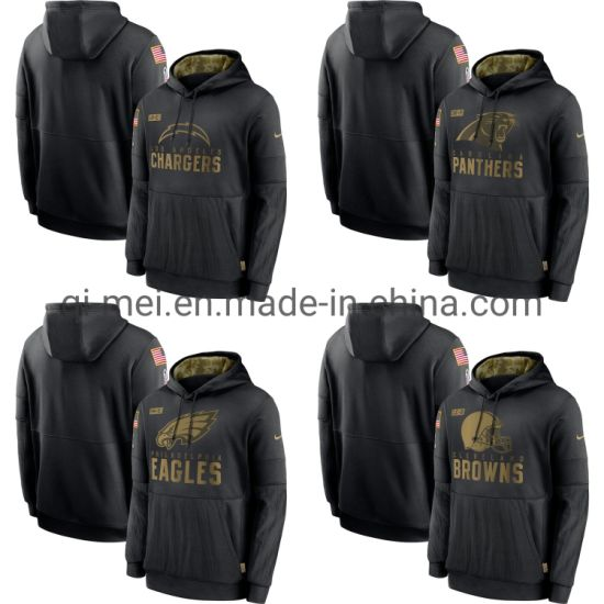 2020 Salute to Service Chargers Panthers Eagles Browns Black Sideline Pullovers Hoodies