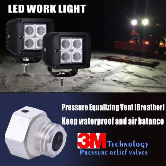 LED Work Light with Pressure Equalizing Vent (breather) Patent Design Keep pictures & photos