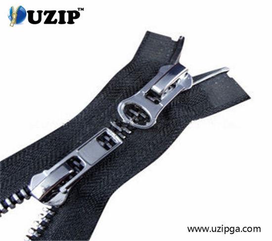 2 Ways Double Sliders Metal Zipper for Garment/ Zipper Pull with Logo