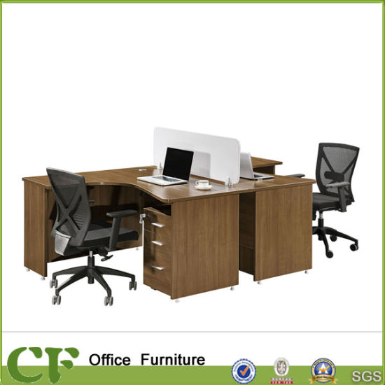 China Modular 2 Person L Shape Office Workstation With Mfc Dividers