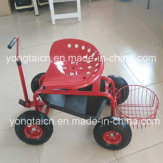 Heavy Duty Adjustable Tractor Garden Scoot With Round Basket