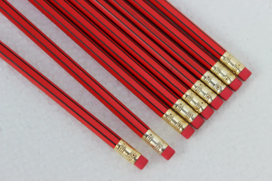 High Quality Hexagonal Pencils with Stripe Coating and Eraser Tip pictures & photos
