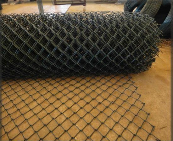 PVC Coated Diamond Wire Mesh/Fence Green Color Chain Link Fence