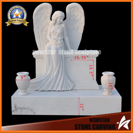 White Headstone with Angle Granite Monument Stone Headstone pictures & photos