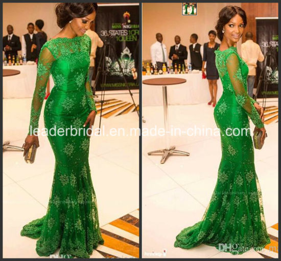 Green Lace Formal Dress Mermaid Long Sleeves Evening Dress E1417