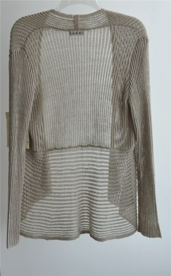Long Sleeve Opean Patterned Knit Cardigan for Ladies pictures & photos