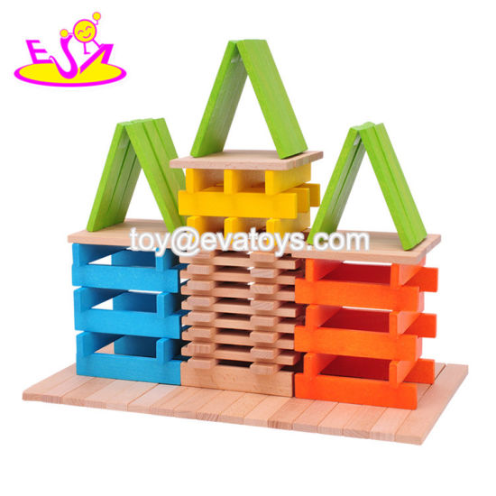 Wholesale Joyful Colorful Wooden Rectangle Stacking Blocks Toy for Children W13D160