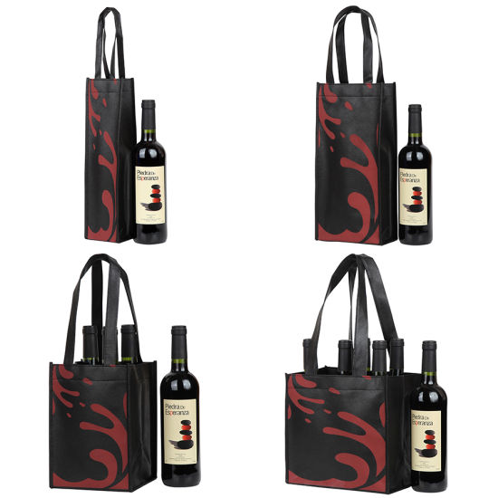 Custom Non Woven Wine Bag, Tote Bag for Red Reusable Wine Beer Bottle, Wholesale PP Polypropylene Spunbond Laminated Gift Bag, Shopping Promotional Bag