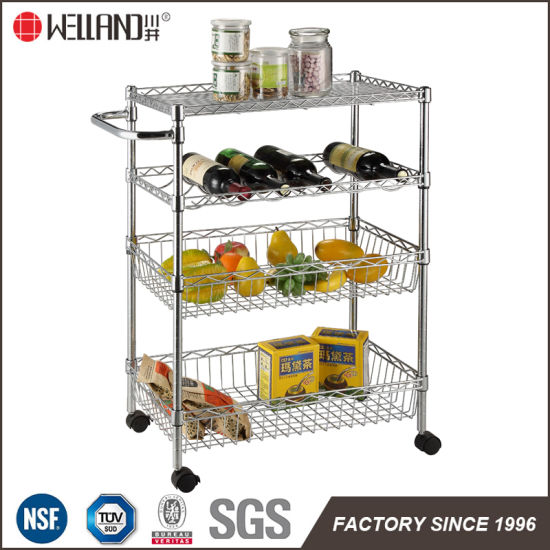 NSF Carbon Steel Chrome Metal Wire Mesh Basket Shelving Kitchen Food Storage Cart Trolley pictures & photos