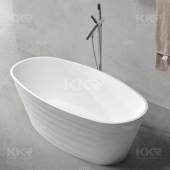 Ce White Egg Shaped Solid Surface Jaccuzi Massage Bathtub (BT170823)