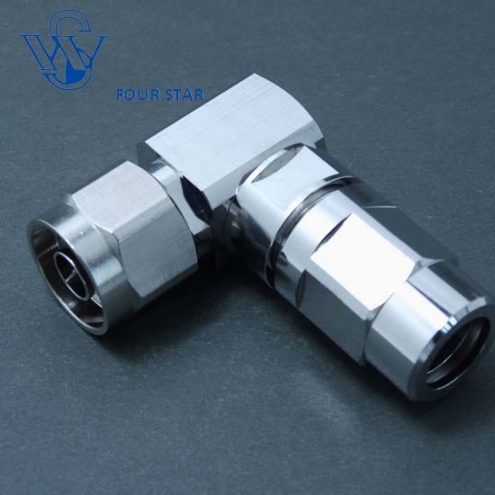 """RF Coaxial Male Plug 90 Degree Clamp N Connector for 3/8 """" Smooth Wall Al Cable"""