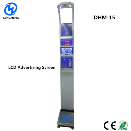 Dhm-15 Body Weight Height Health Scale Human Medical Scale with LCD Advertising Screen