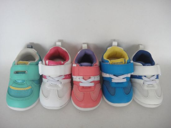 Colorful Baby/Kids PU Upper Shoes with Magic Tape
