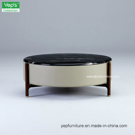 China Living Room Circular Marble Coffee Table With Solid Wood