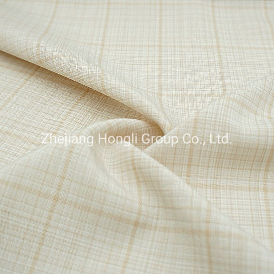 94%Polyester 6%Spandex Cationic Check Plaid Poly Span Fabric #20015