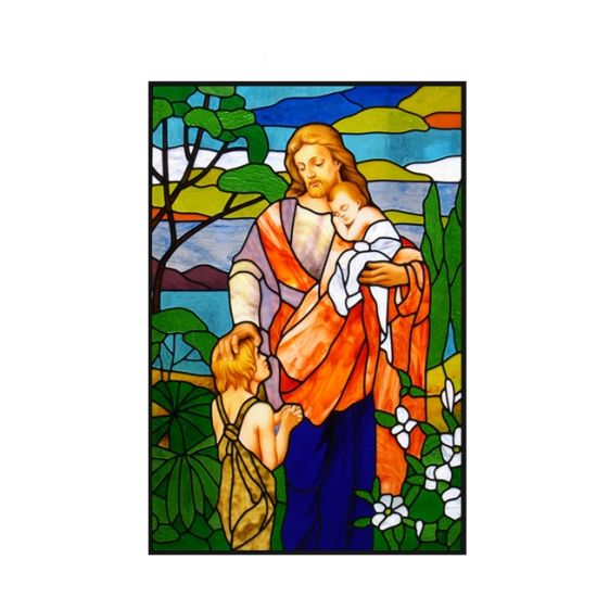 Customized Colored Patterned Toughened Crystal Hot Melt Church Faux Beauty and The Beast Stained Glass