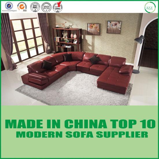 China U Shape Leisure Wooden Sectional Corner Leather Sofa Bed