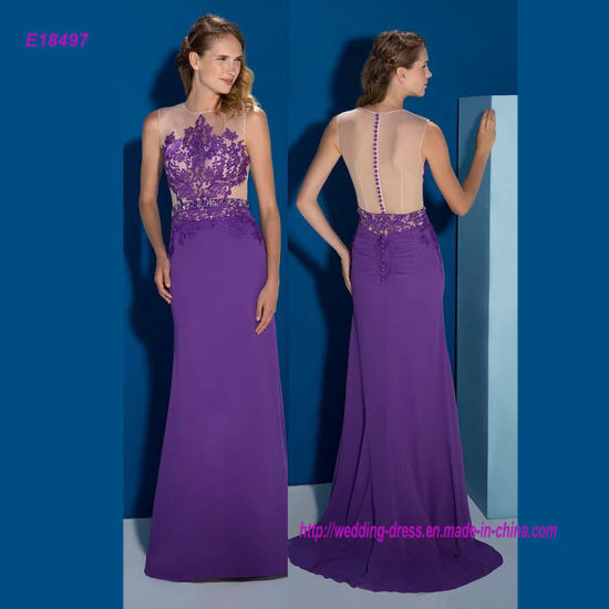 Sleeveless Lace Applique and Transparent Back A Line Evening Dress