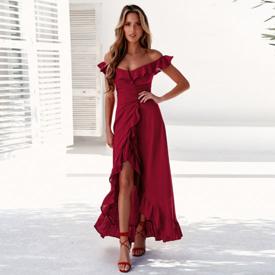 Summer Skirt Strapless Solid Color Evening Casual Dress Women Clothes