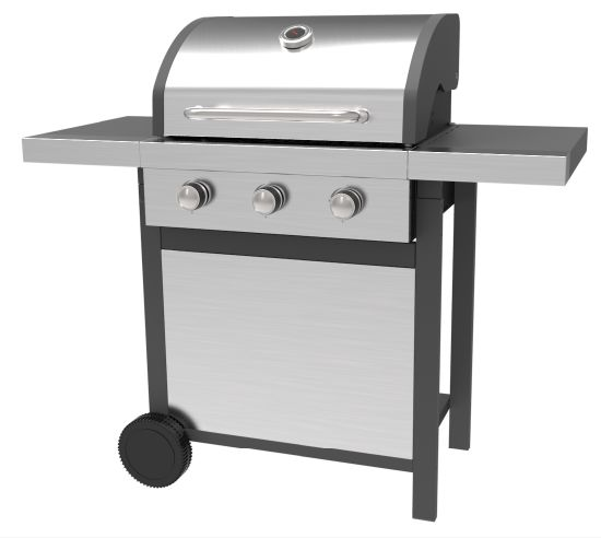 Three Burners Gas Grills with Ss Lid and Front Panel, Stainless Steel Gas BBQ Grill