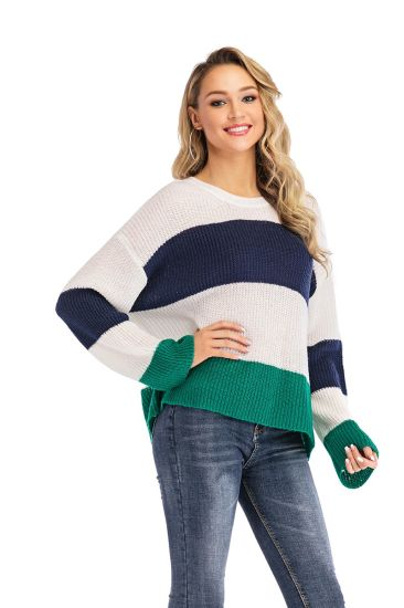 Women Apparel Striped Color Blocking Knitwear Fashion Pullover Sweater