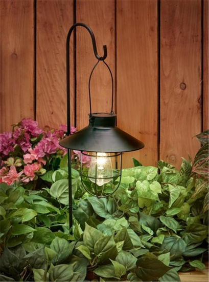Vintage Outdoor Hanging Solar Lanterns with Hook for Garden