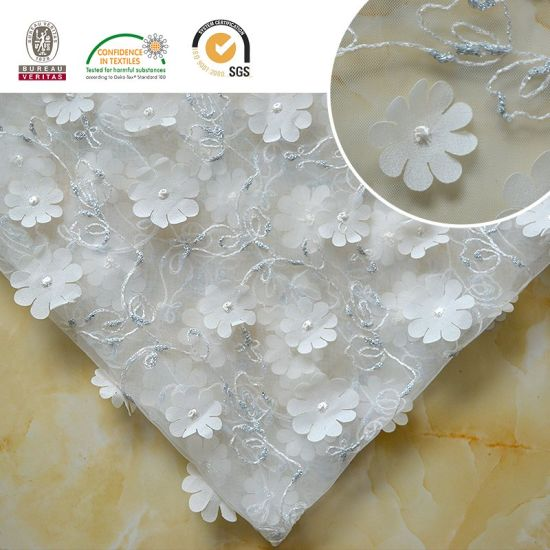 High Qlty Embroidery Shine Flower Lace Fabric Lady Dress/Skirt/Full Dress/Clothes 009
