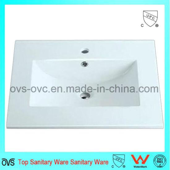 Sanitary Ware One Piece Thin Edge Ceramic Wash Sink Basin with Cupc
