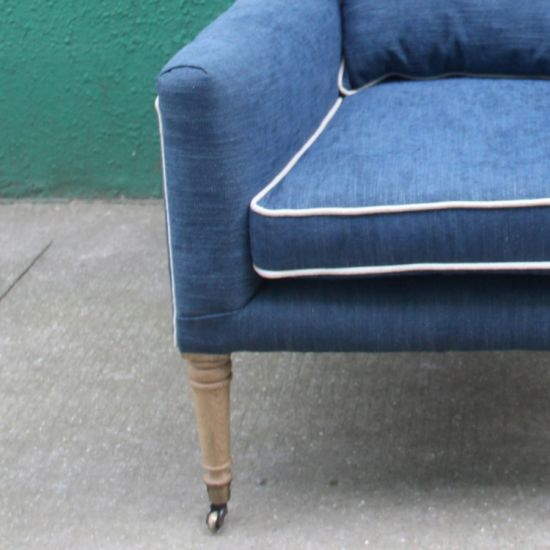 Navy Blue Tufted Linen Living Room Chair Furniture