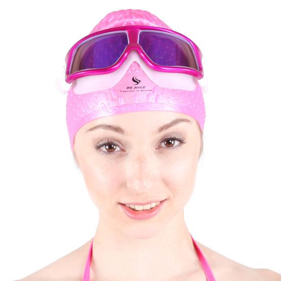 20bf6191945 China Swimming Caps and Swimming Goggle with Big Frame - China High ...