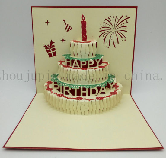 Brilliant China Custom 3D Paper Birthday Cake Greeting Invitation Card Personalised Birthday Cards Paralily Jamesorg