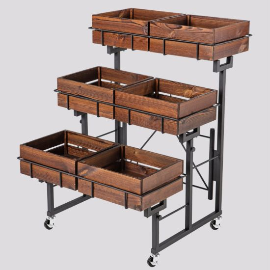 Supermarket Metal Foldable Fruit and Vegetable 3-Tier Display Shelves with Wooden Box