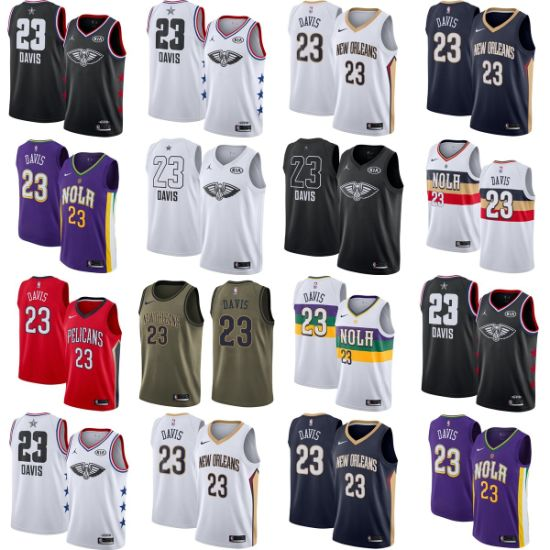 New Orleans Pelicans Anthony Davis Home Road Alternate Basketball Jerseys