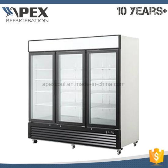 China 3 Self Closing Hinged Glass Doors Upright Display Cooler