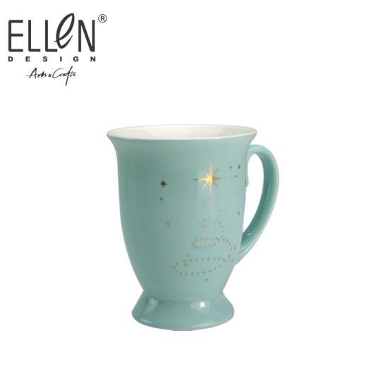 Wholesale Star Design Real Gold Ceramic Mug
