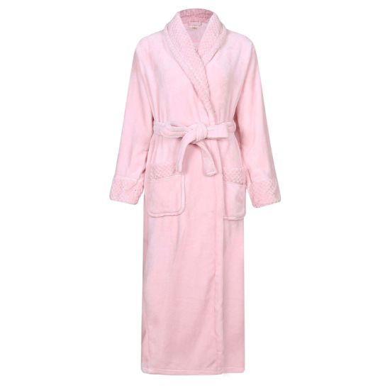 Women Plush Soft Warm Fleece Bathrobe Robe with Pocket pictures & photos