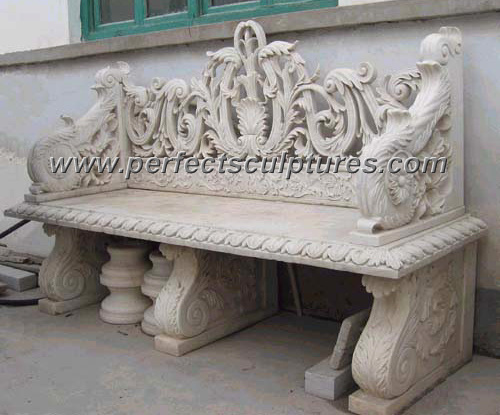 Garden Decorative Carved Stone Table Marble Carving Bench for Outdoor Decoration (QTC004)