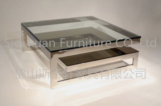 Square Glass Top Coffee Table With Silver Steel Leg And Frame For Home Furniture