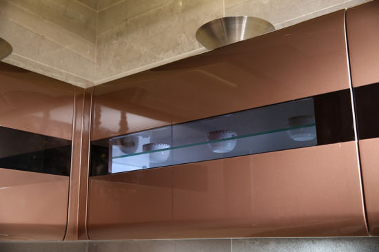 Contemporary High Gloss Brown Mdf Baked Paint Kitchen Cupboards