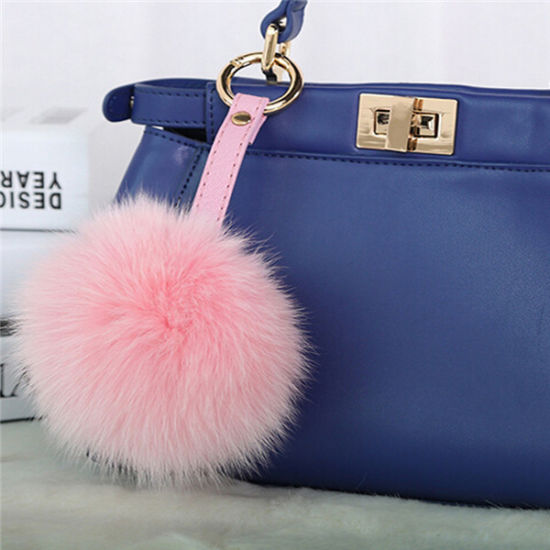 Heart Shape Fluffy Faux Fox Fur Ball Keychain pictures & photos