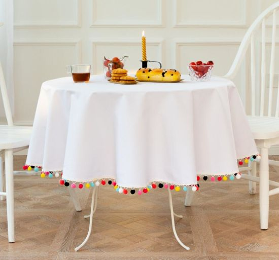 Pure White Round Tablecloth with Round Ball Tassels