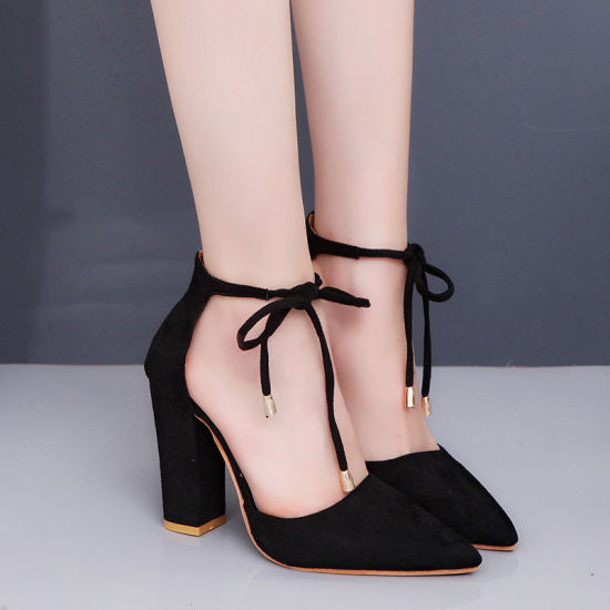 853d9a81db China Women Pointed Toe Chunky Hight Block Heels Lace-up Comfort ...