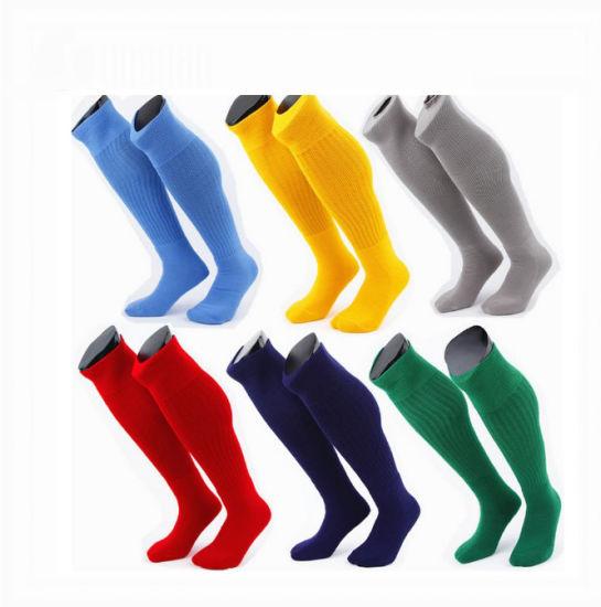 72b9b9c10210 China Custom Logo Printed Cotton Polyester Soccer Socks for Club ...
