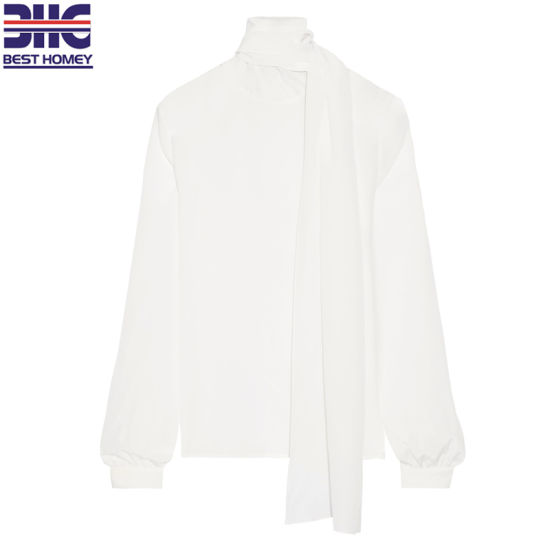 Women's 100% Silk Crep De Chine Blouse with Long Scarf Ties Long Sleeves Loose Blouse for Lady