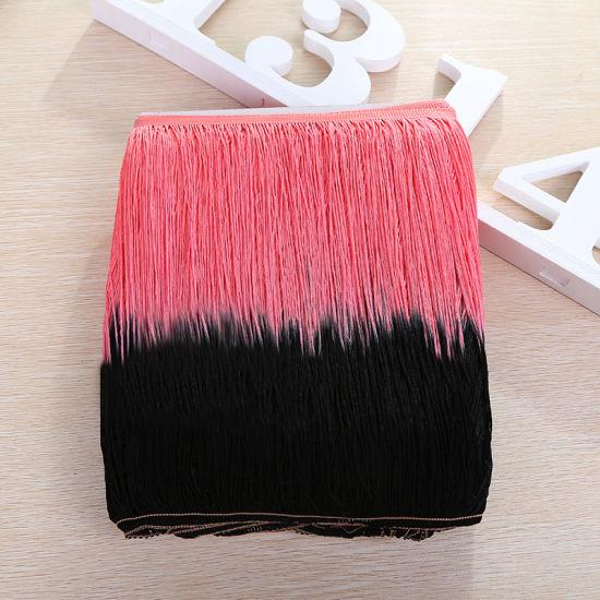 Wholesale High Quality Double Color Gradient Color Tassel Fringe for Dress