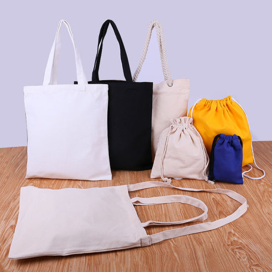 Wholesale Reusable Shopping Shoulder Tote Canvas Bag, Advertising Gift Packaging Bag, Promotional Recycling Shoe Beach Drawstring Cotton Shopping Bag pictures & photos