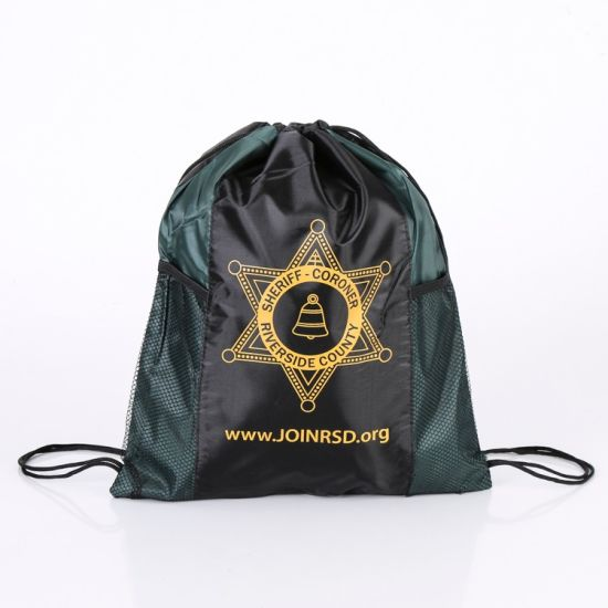 Waterproof Custom Promotional Sports Drawstring Shoe Backpack Bag with Mesh Pocket pictures & photos