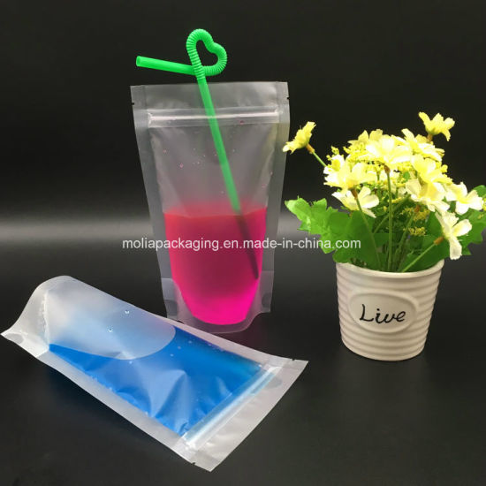 Plastic Clear Drink Pouches with Straw, No Leakage Drink Reusable Juice Bags, Stand up Disposable Drink Pouch Smoothie Bag BPA Free pictures & photos