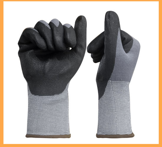 High Quality Nylon/Spandex Knitted Liner Micro-Foam Nitrile Coated Work Safety Gloves with Tight Structure
